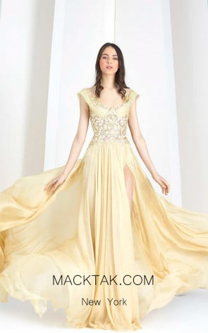 Tony Ward W41 Yellow Front Evening Dress