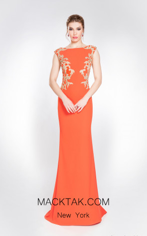 X & M Couture 49014 Orange Gold Front Evening Dress