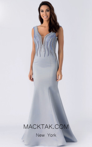 Alchera Y8049 Dusty Blue Front Evening Dress