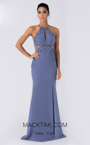 Alchera Y8149 Dusty Navy Front Evening Dress
