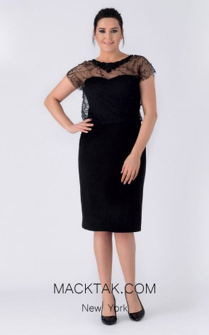 Alchera Y8180 Black Front Evening Dress