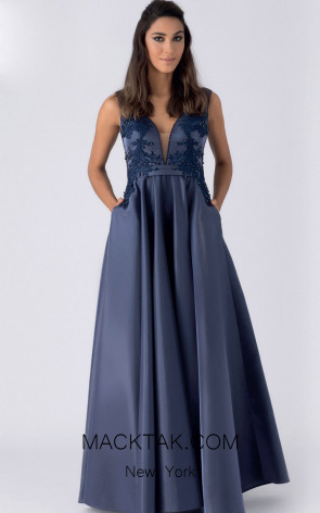 Alchera Y8181 Navy Front Evening Dress