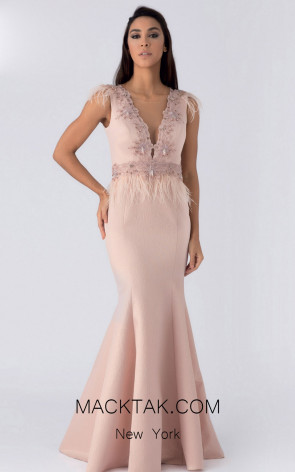 Alchera Y8223 Salmon Front Evening Dress