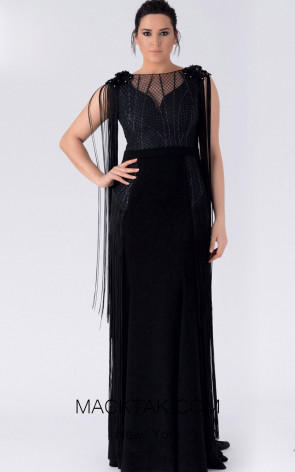 Alchera Y8250 Black Front Evening Dress