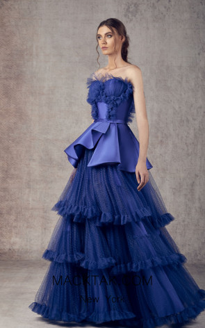 Ziad Germanos ZG10 Royal Blue Front Evening Dress