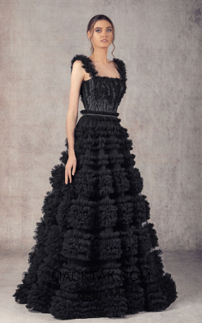 Ziad Germanos ZG14 Black Front Evening Dress