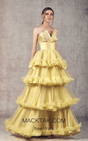Ziad Germanos ZG19 Mustard Front Evening Dress