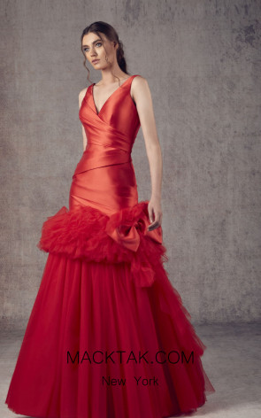 Ziad Germanos ZG2 Red Front Evening Dress