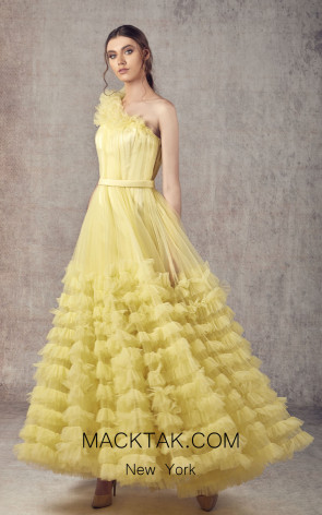 Ziad Germanos ZG20 Mustard Front Evening Dress