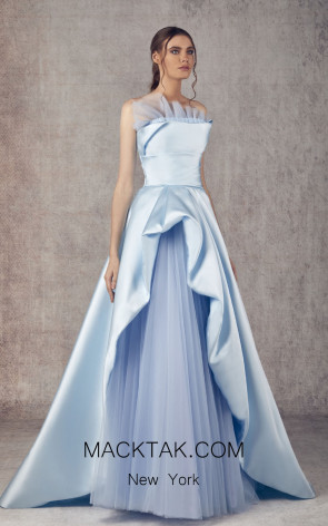 Ziad Germanos ZG22 Blue Front Evening Dress