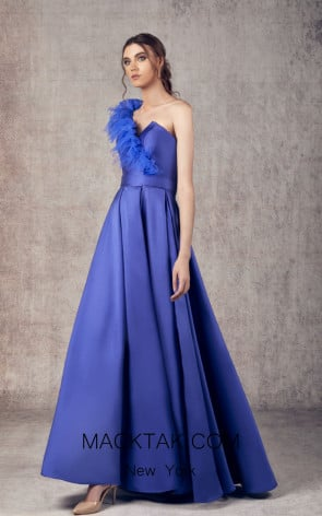 Ziad Germanos ZG23 Royal Blue Front Evening Dress