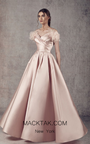 Ziad Germanos ZG24 Pink Front Evening Dress