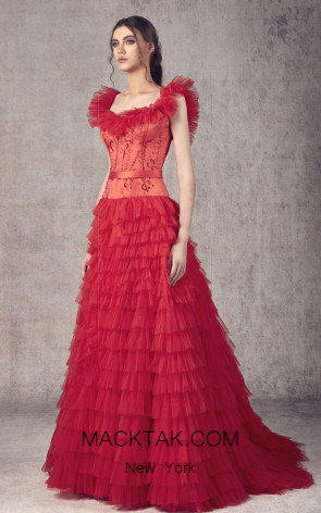 Ziad Germanos ZG3 Red Front Evening Dress