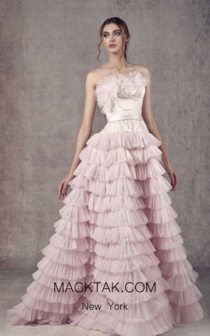 Ziad Germanos ZG5 Pink Front Evening Dress