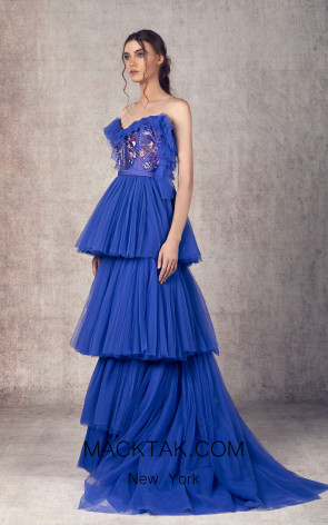 Ziad Germanos ZG9 Royal Blue Front Evening Dress