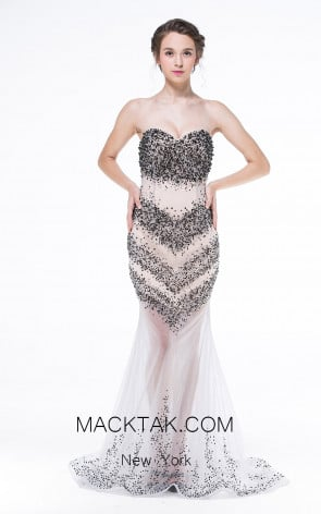 Sequin Decollete Dress by Zorani New York 1579 Front Dress