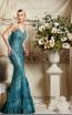 Omur Inn 19114 Moldy Green Front Evening Dress
