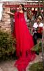 Tarik Ediz 93926 Red Back Dress
