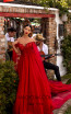 Tarik Ediz 93926 Red Front Dress
