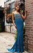 Jadore JX3017 Teal Front Dress