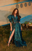 Miau By Clara Rotescu Ira Turquoise Front Dress