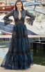 Miau By Clara Rotescu Nadid Navy Green Front Dress