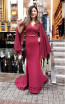 TK MT3948 Bordo Front Evening Dress
