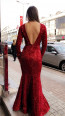 TK MT3952 Red Back Evening Dress