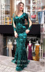 TK MT3953 Green Black Front Evening Dress