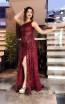 TK MT3958 Bordo Front Evening Dress