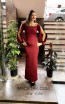 TK MT3986 Bordo Front Evening Dress