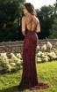 Primavera Couture 3214 Back Burgundy Dress