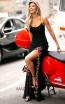 Primavera Couture 3427 Black Multi Front Dress