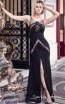 Sana Sabini 9267 Black Front Evening Dress