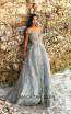Tarik Ediz 93654 Cloudy Blue Front Evening Dress