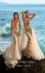 Tarik Ediz 93701 Ivory Gold Front Evening Dress