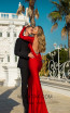 Tarik Ediz 50756 Red Back Dress
