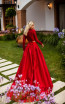 Tarik Ediz 50770 Red Back Dress
