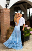 Tarik Ediz 50773 Blue Back Dress