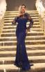 TK DA025 Navy Front Evening Dress