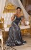 TK DA029 Gray Front Evening Dress